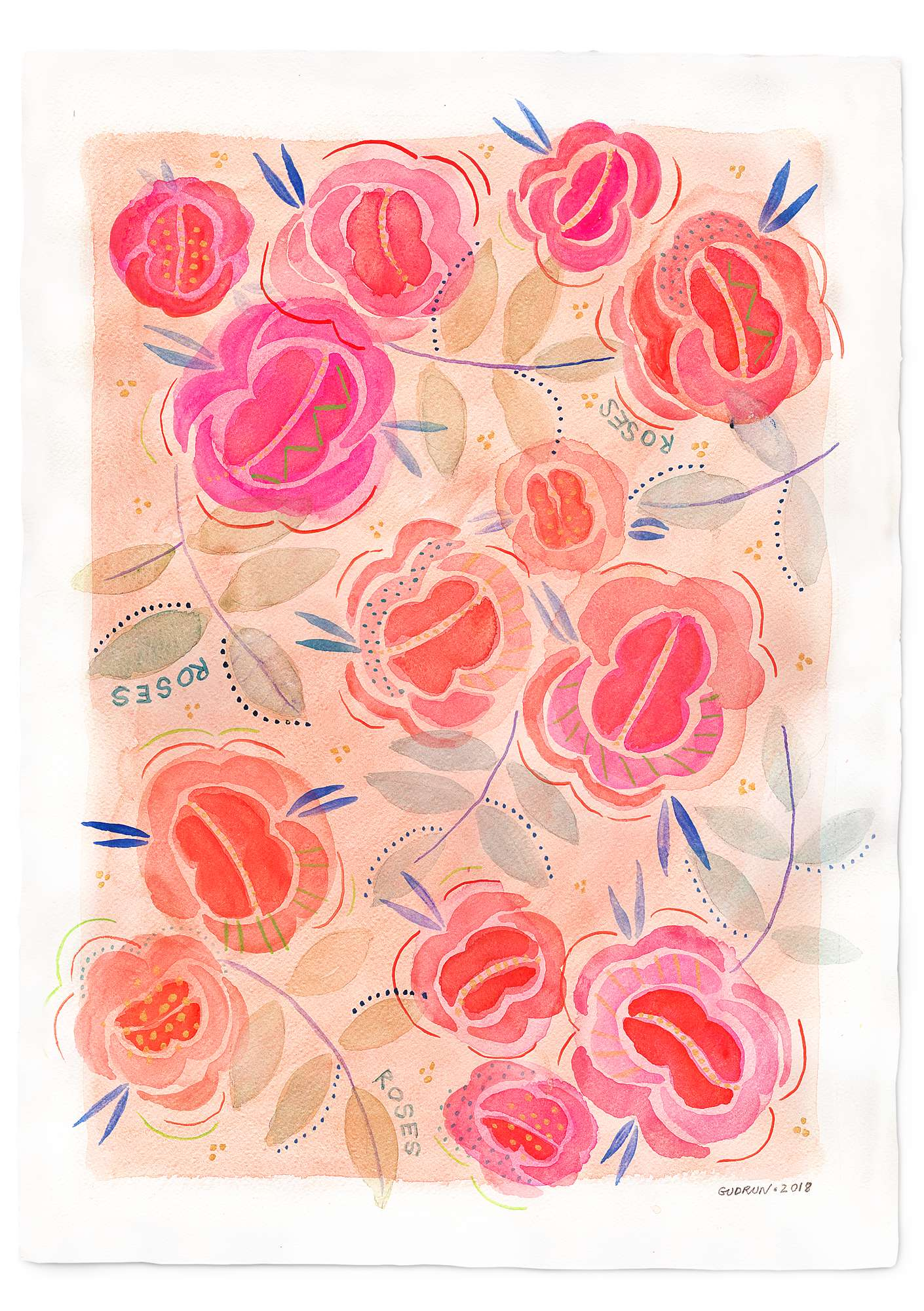 "Poster ""Roses"" cerise"