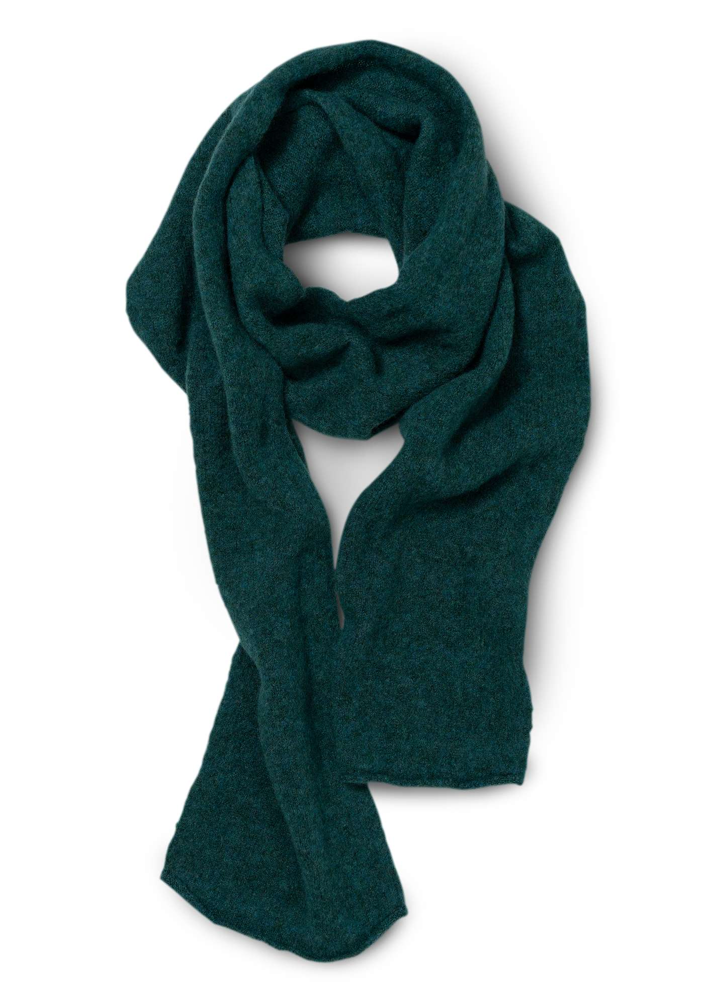 Solid-color scarf in a recycled cashmere blend bottle green