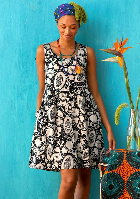Marimba jersey dress oyster/patterned