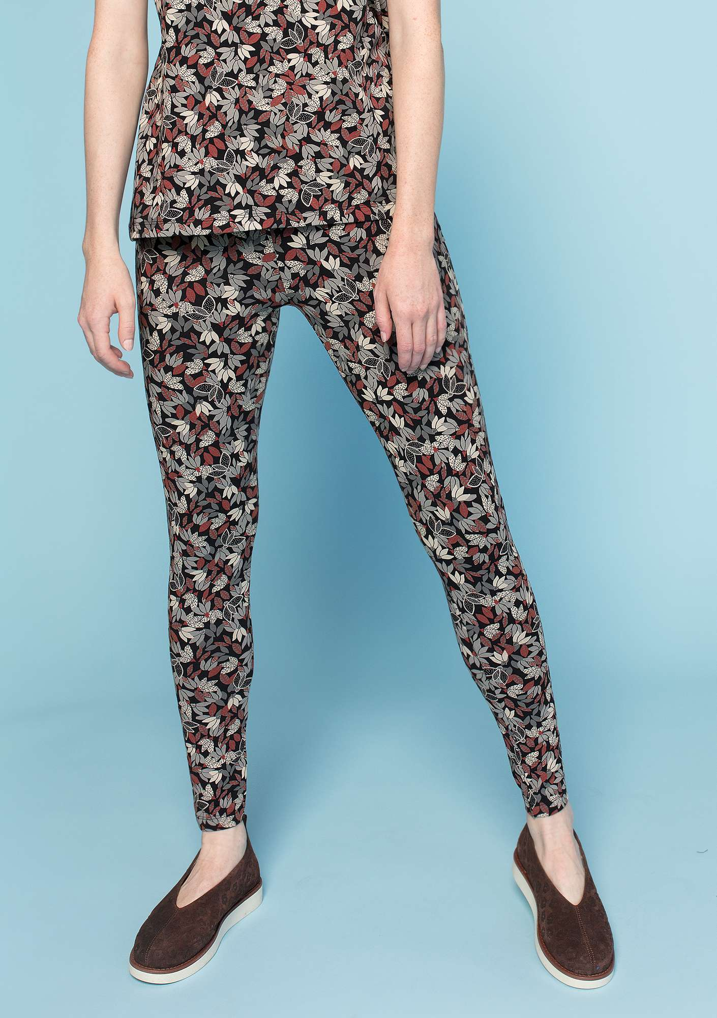 """Minerva"" leggings in organic cotton/elastane black-patterned"