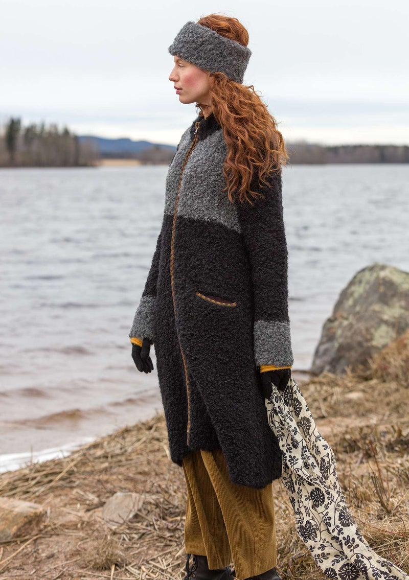 Knitted bouclé coat in a wool blend black