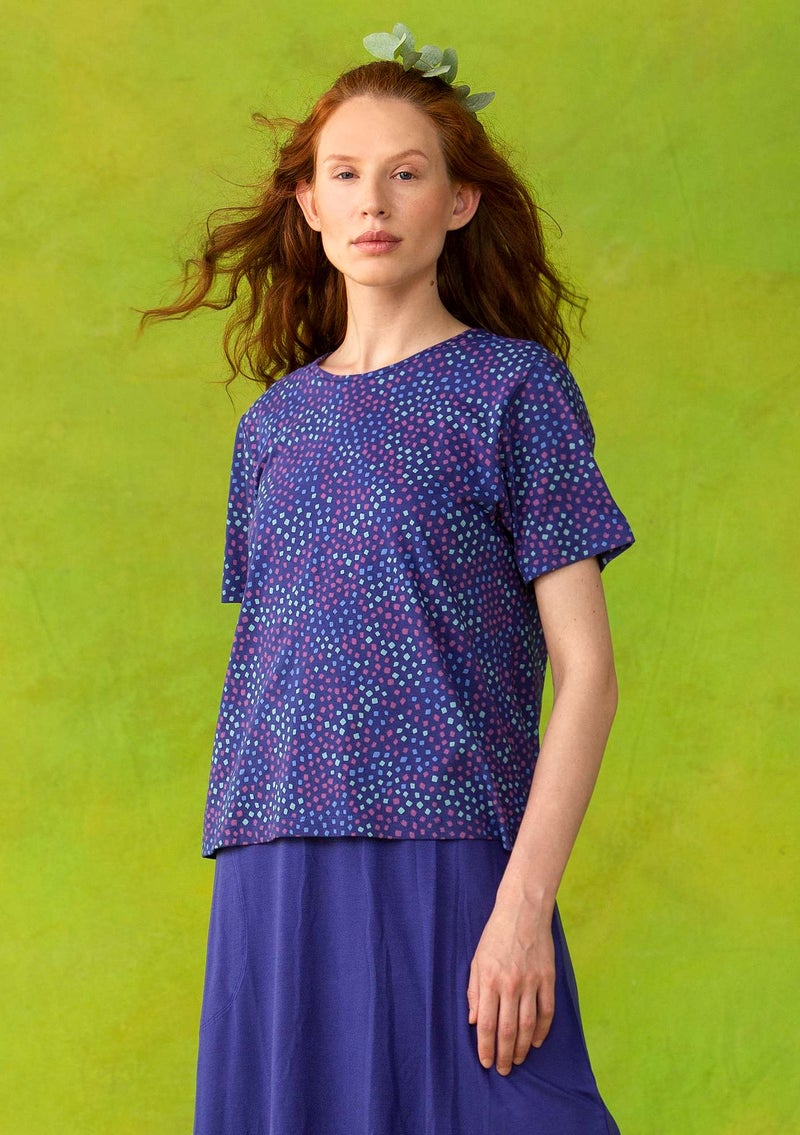 """Confetti"" T-shirt in light organic cotton violet/patterned"