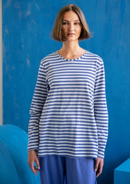 Striped top sky blue/ecru