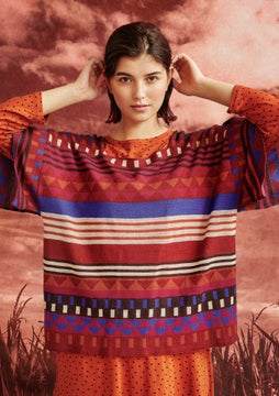 Pull-poncho Abstract cranberry