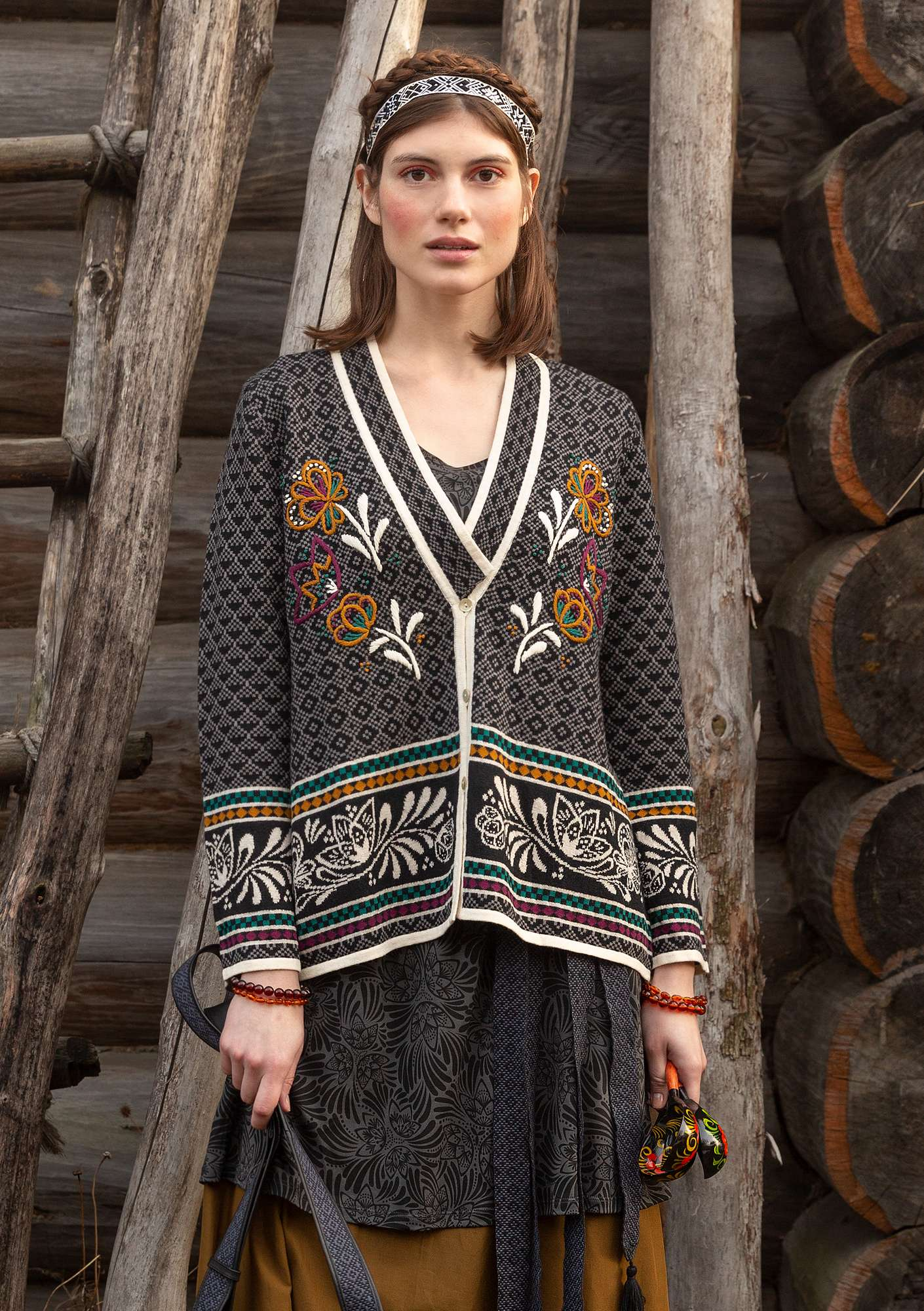 """Petrovska"" organic cotton/wool cardigan black"