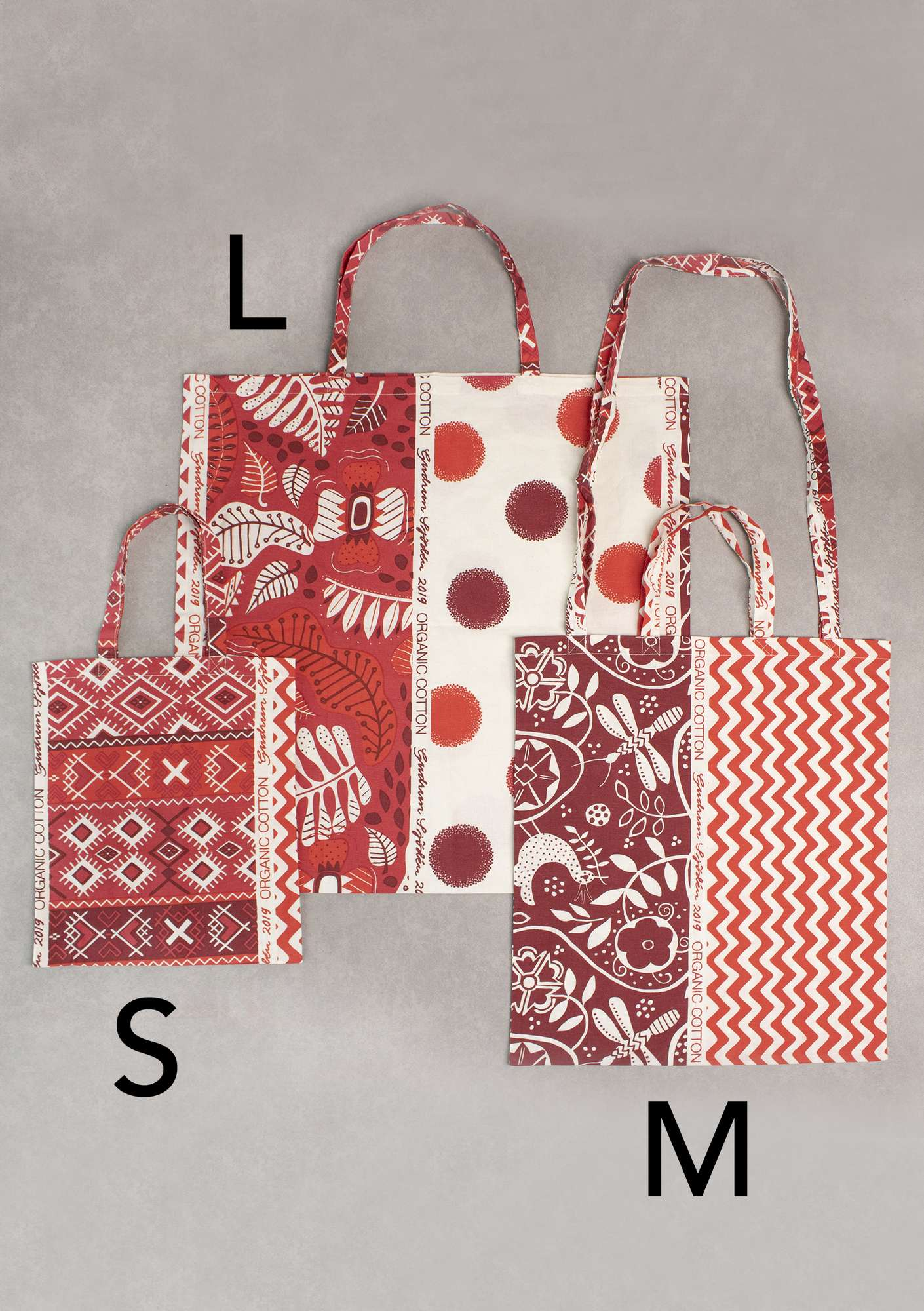 Organic cotton fabric tote bag M tomato