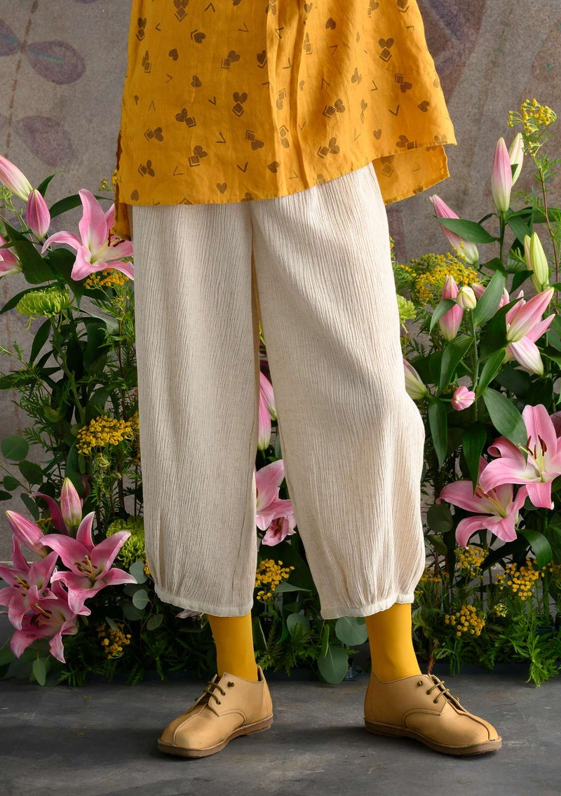 Trousers in organic cotton/linen natural