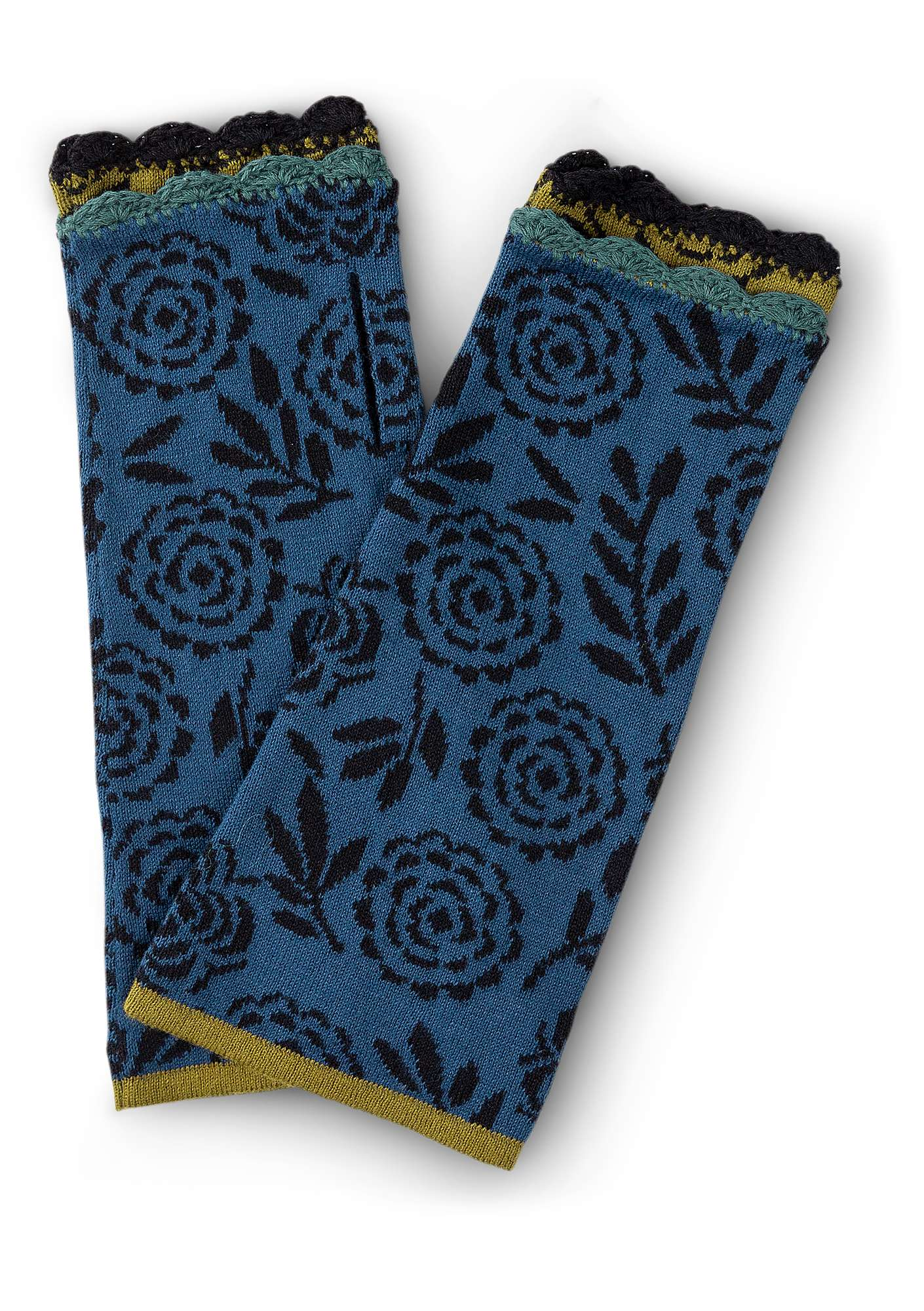 """Blomstermåla"" fingerless gloves in eco-cotton indigo"