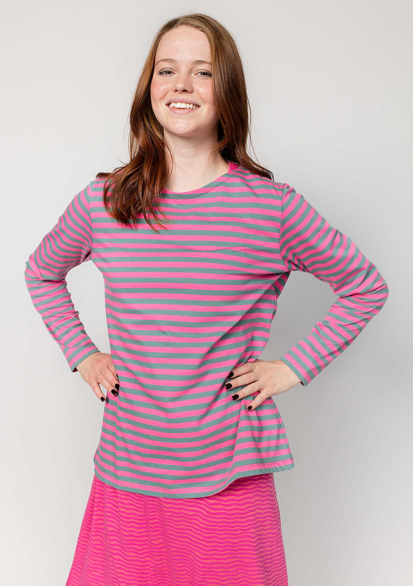 Striped top in organic cotton phlox/tea tree
