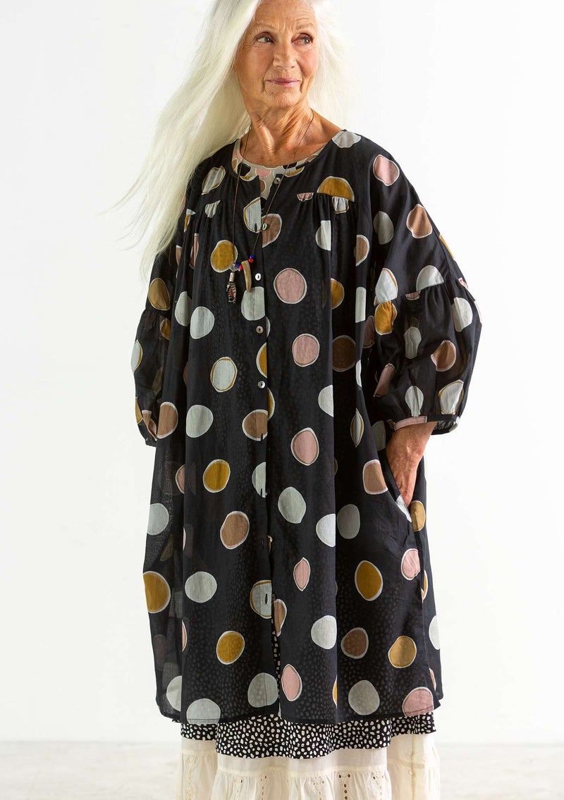 """Billie"" organic/recycled cotton dress black/patterned"