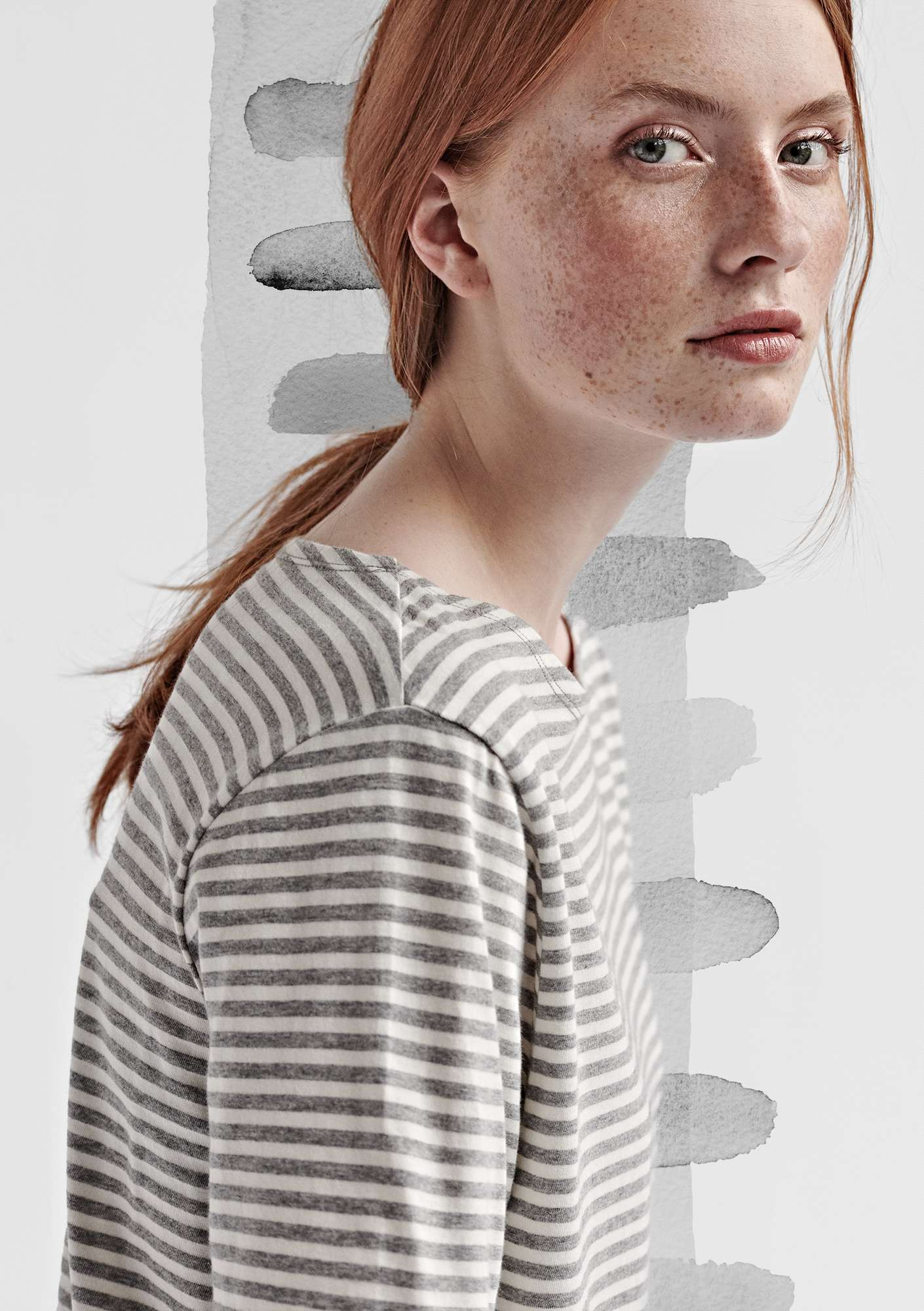 Block-striped T-shirt in eco-cotton light gray melange/unbleached