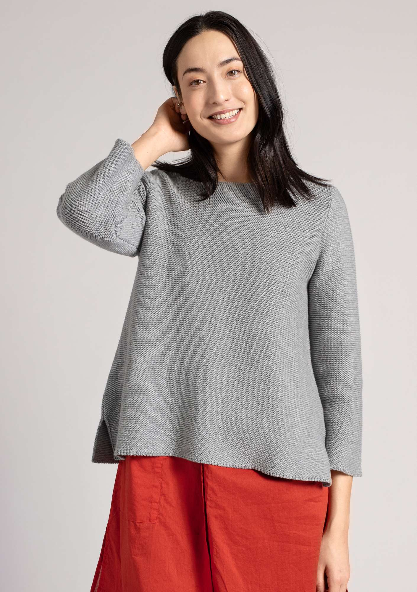 Pull au point mousse en écocoton gris clair chiné