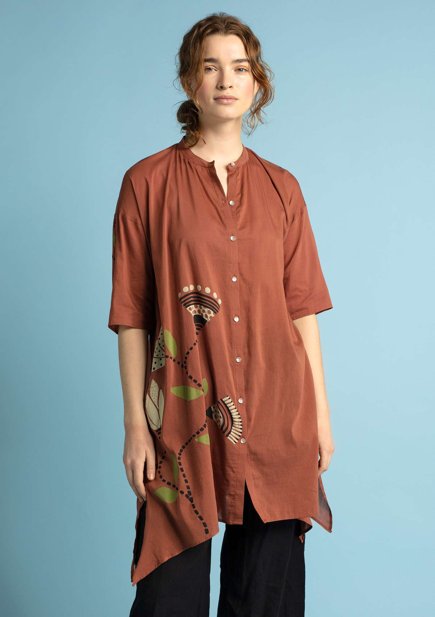 """Diana"" eco-cotton/silk tunic hazelnut"