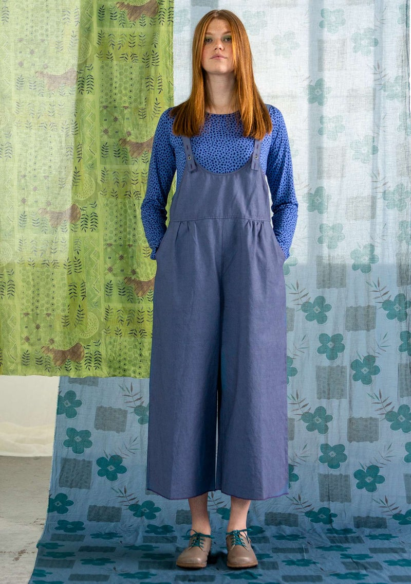 """Twin"" overalls in linen/organic cotton light blue"