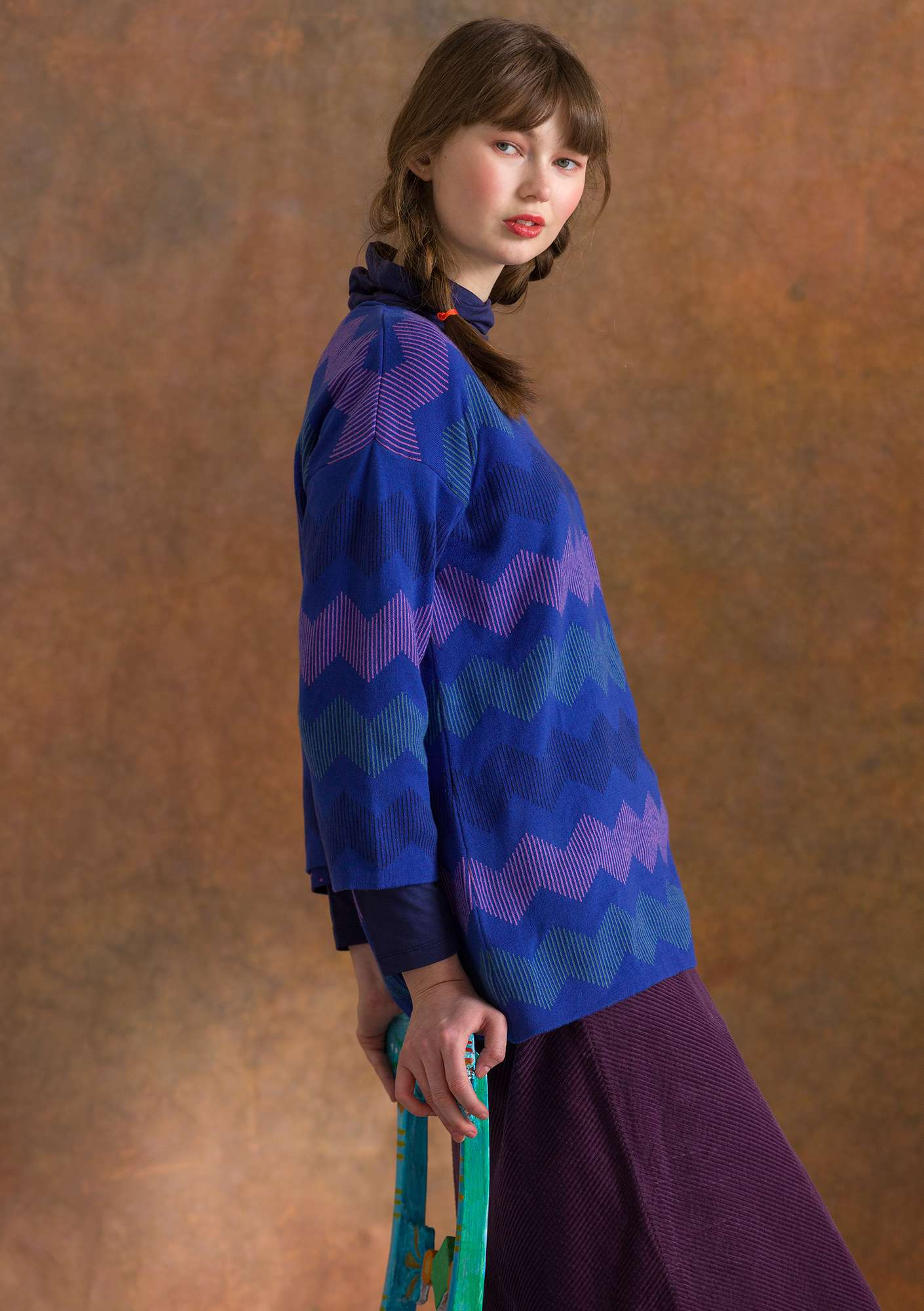 """Ziz"" jacquard sweater made of organic cotton lupin"