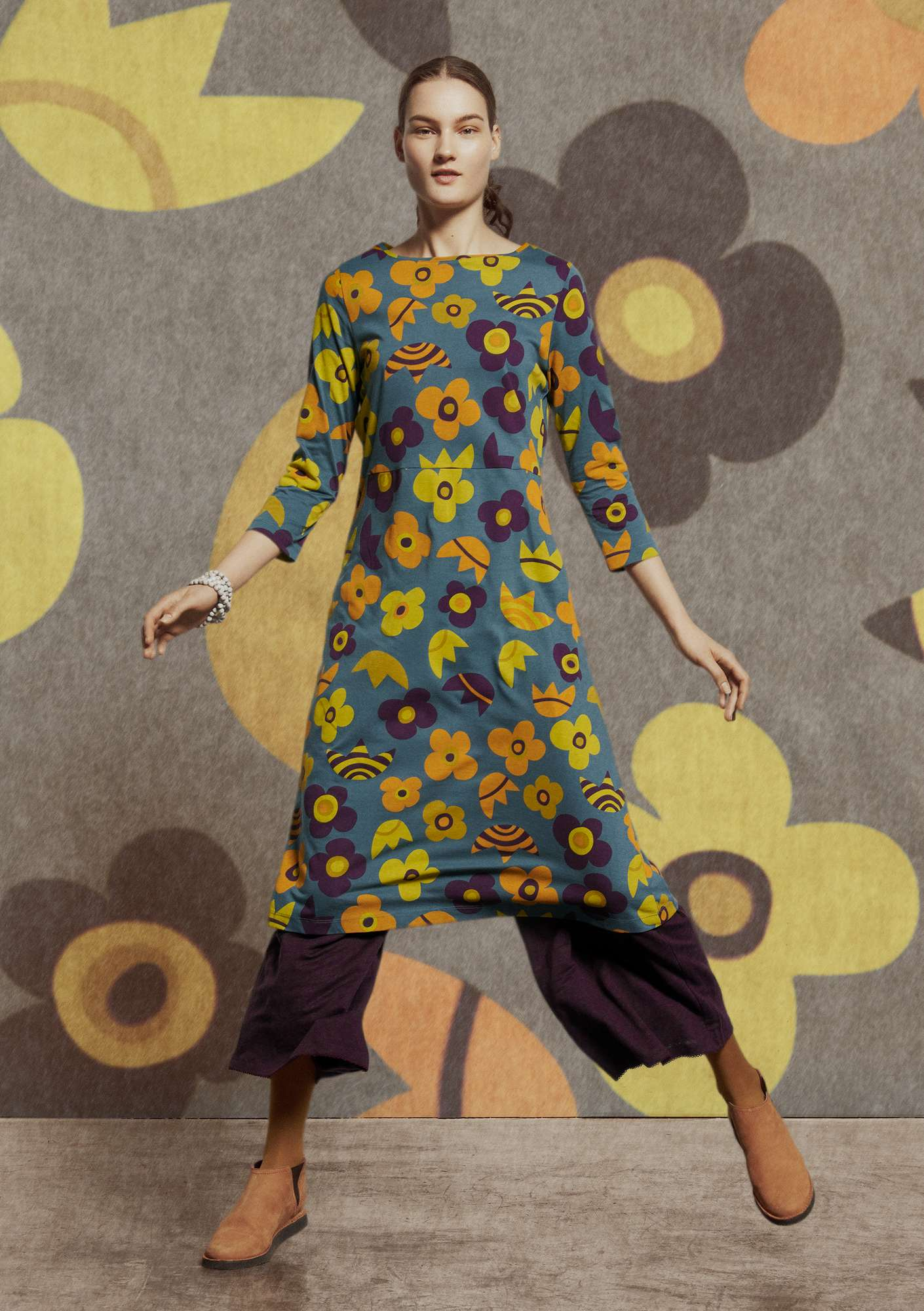 """Blomster"" dress in organic cotton/modal agave"