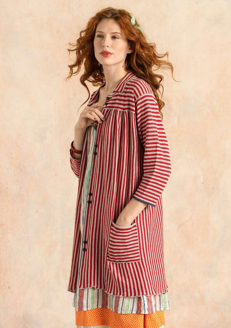 Striped knit artist's blouse in organic linen tomato