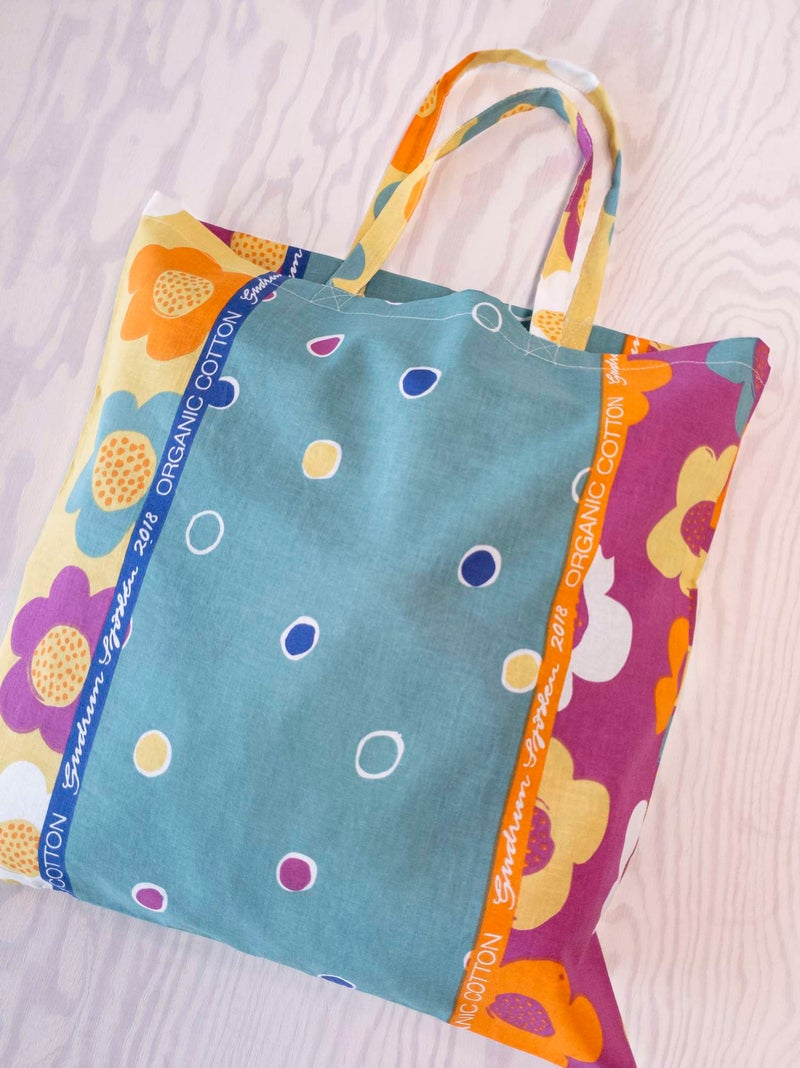 Organic cotton fabric tote bag L patterned