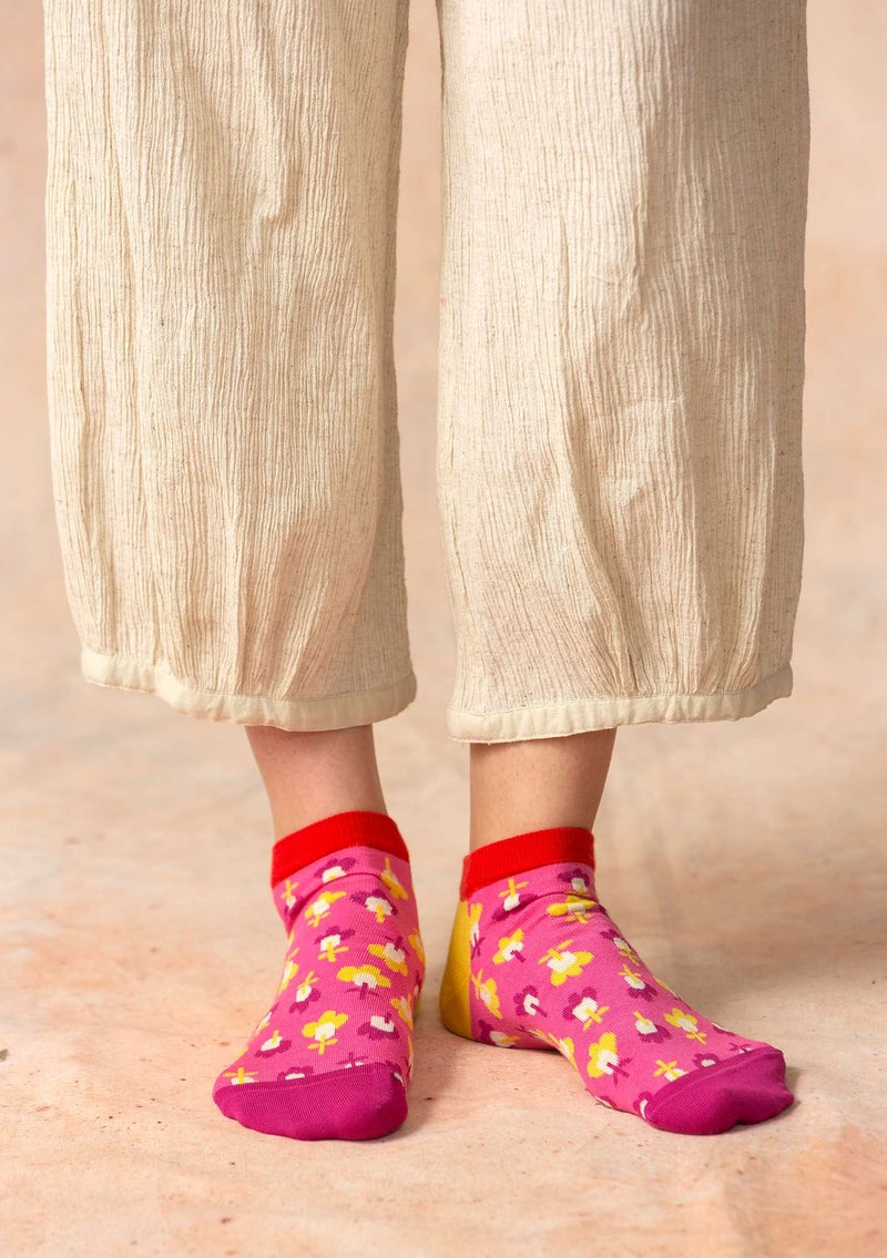 """Molly Dolly"" ankle socks in organic cotton peony"
