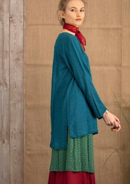 Linen knit fabric tunic petrol blue