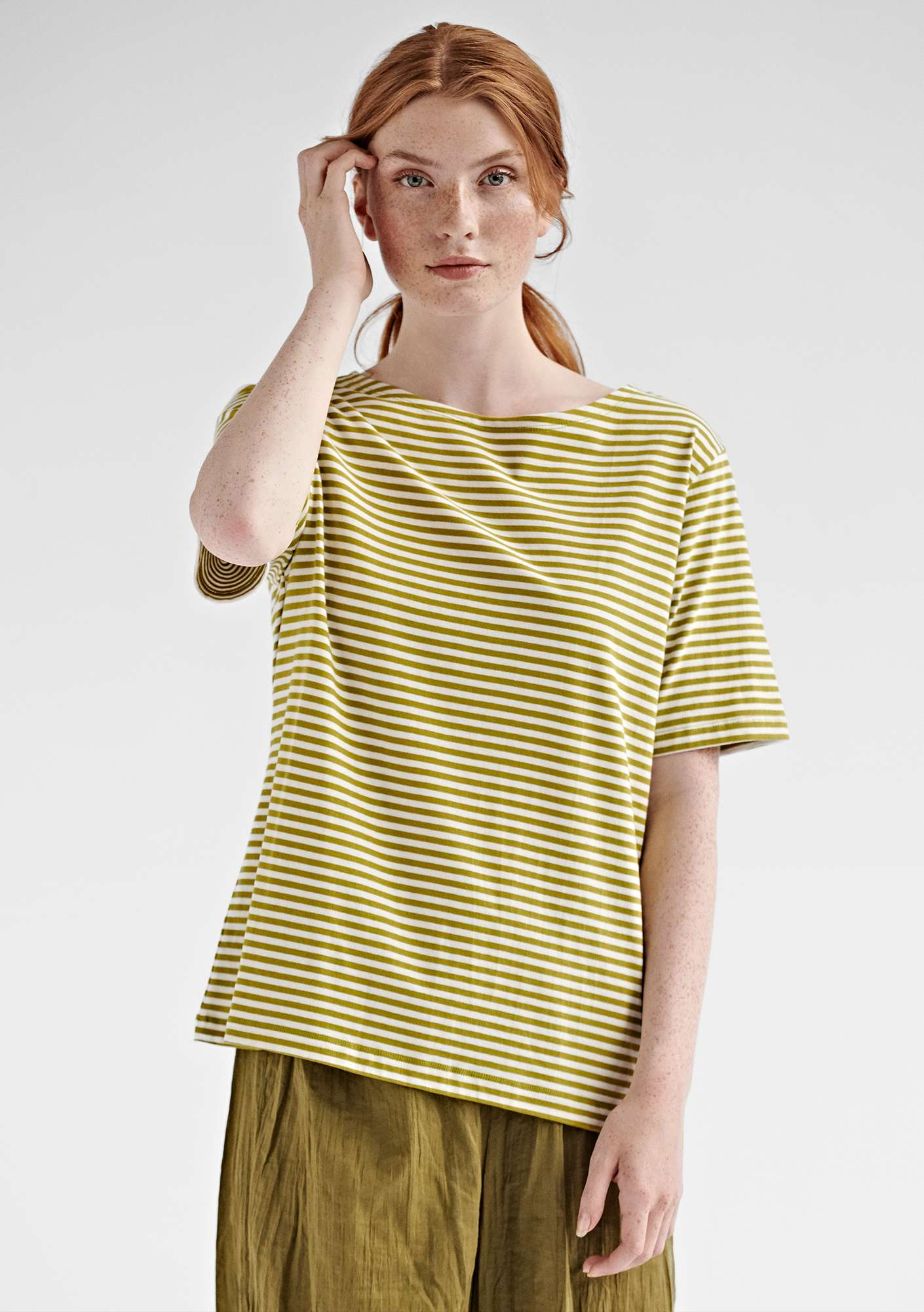 Block-striped T-shirt in eco-cotton guava/unbleached