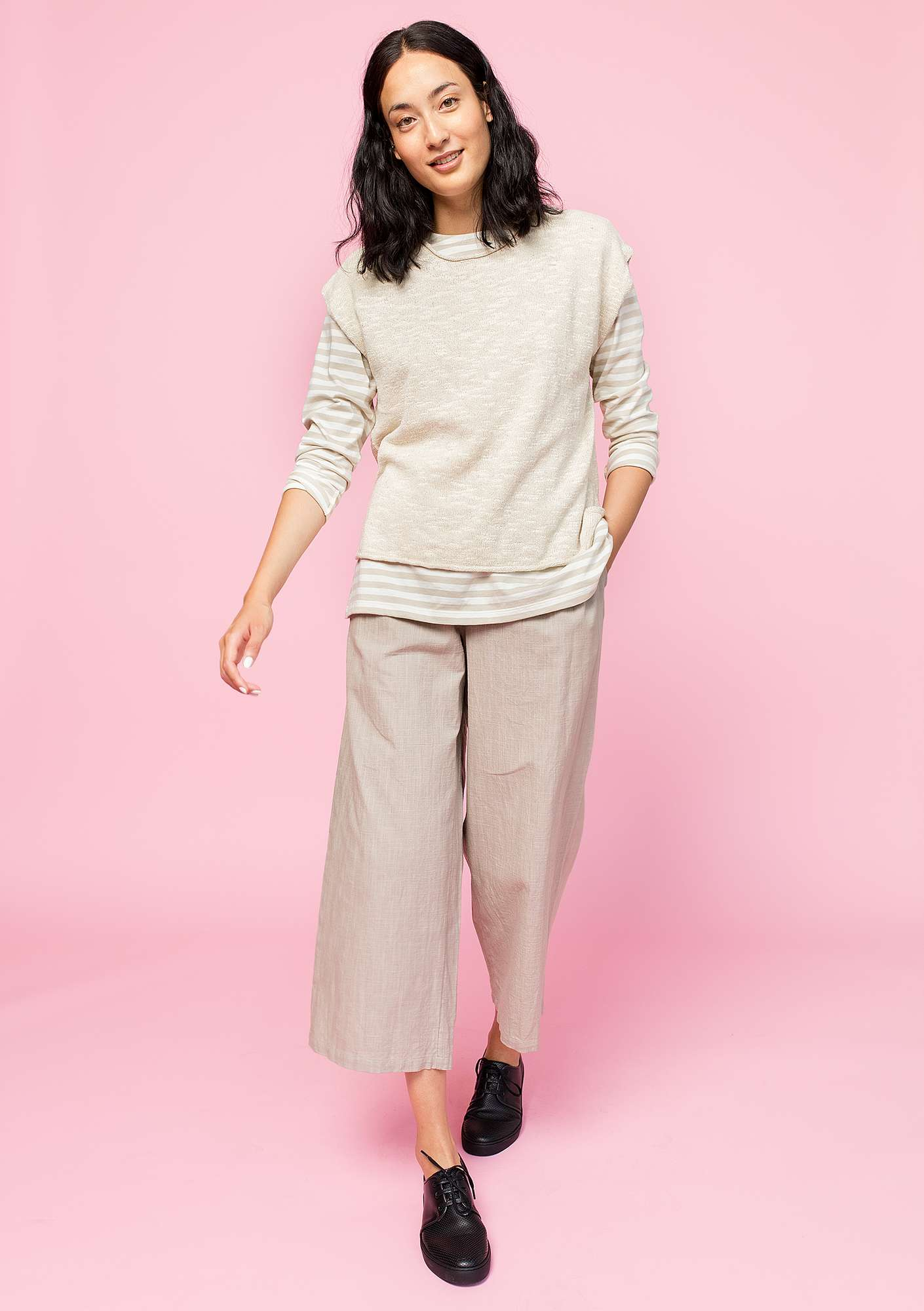 Sweater in eco-cotton/linen natural