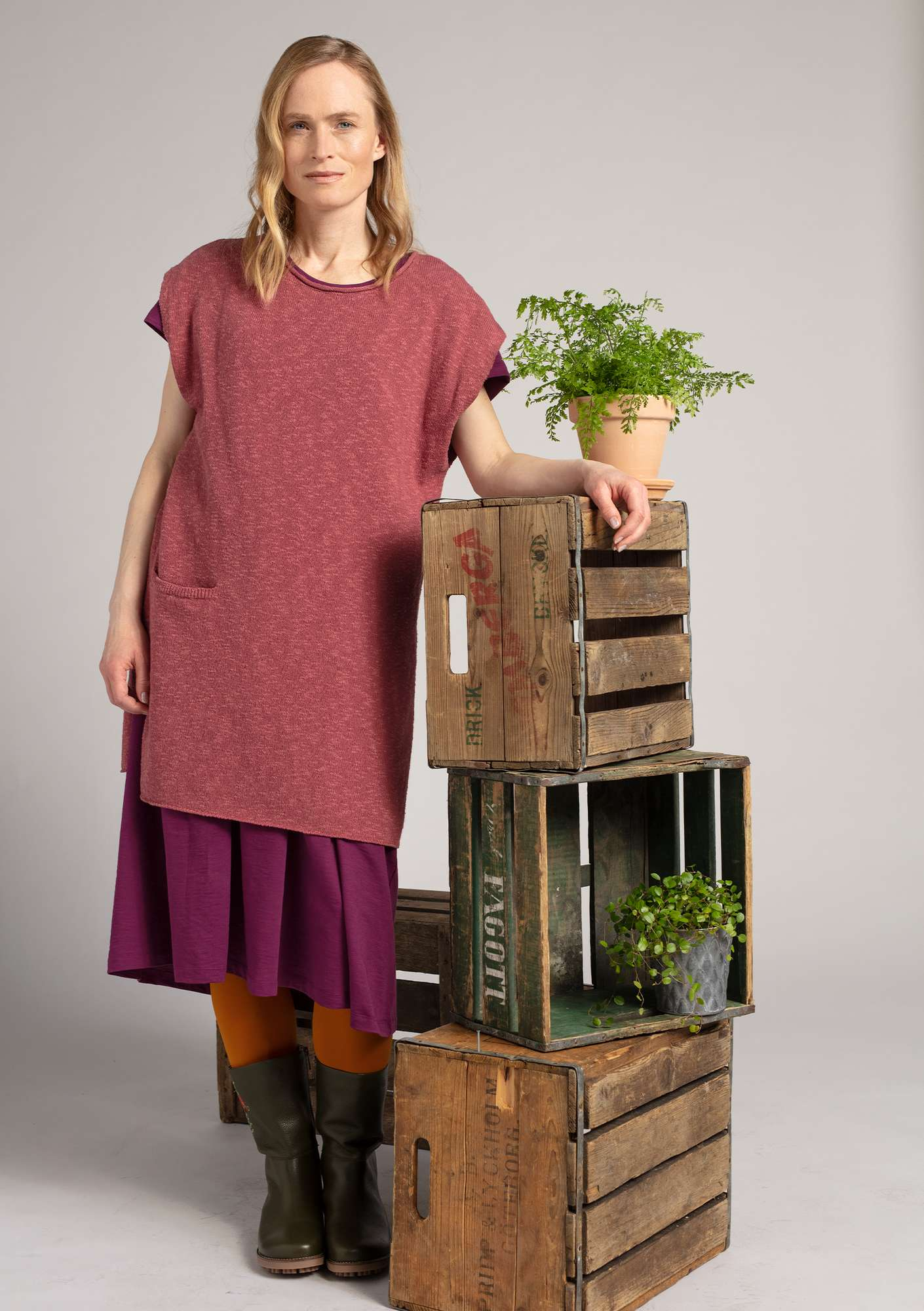 Sleeveless tunic in organic cotton/linen fig