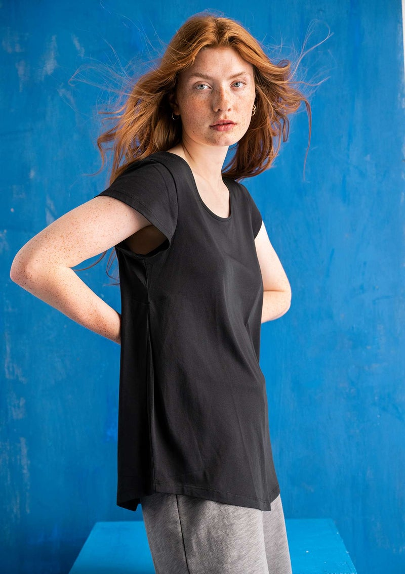 """Himmel"" organic cotton/modal top  black"