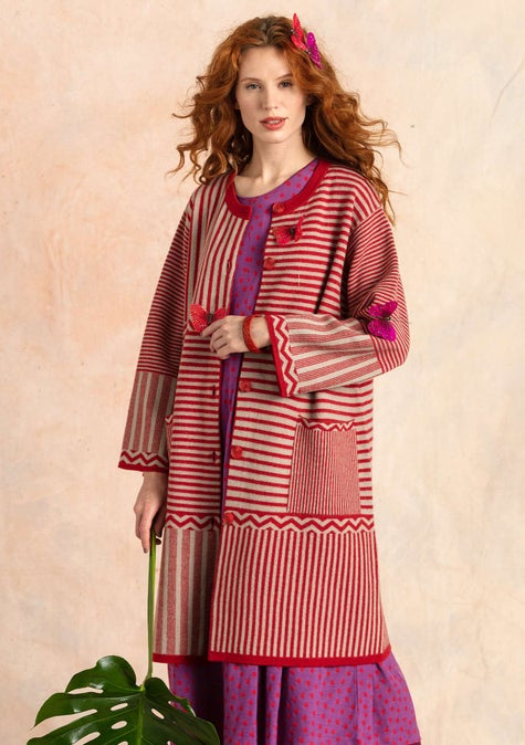 Knit Criss-cross coat tomato