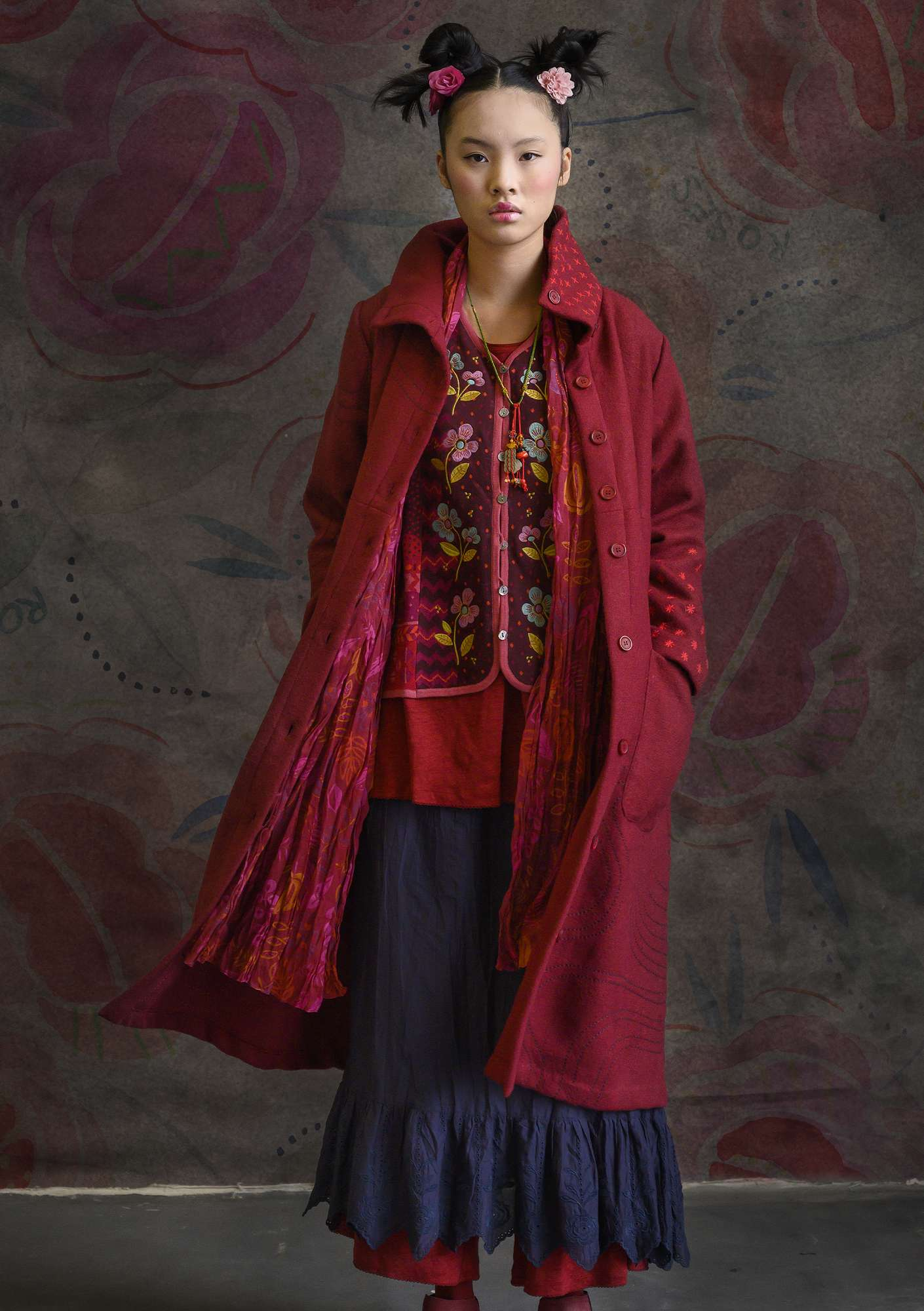"""Orion"" wool coat pomegranate"