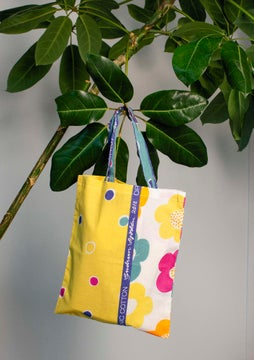 Fabric tote bag S patterned