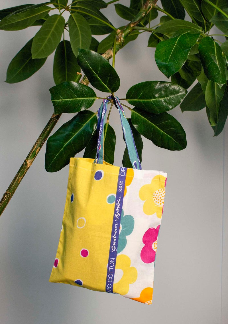 Organic cotton fabric tote bag S patterned