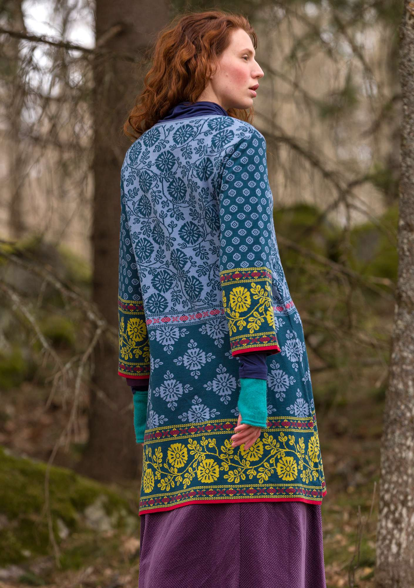 """Lace"" jacquard tunic made of organic cotton light indigo"