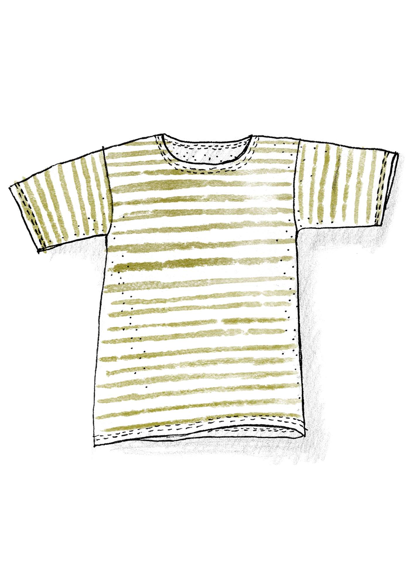 Block-striped T-shirt in organic cotton guava-ecru