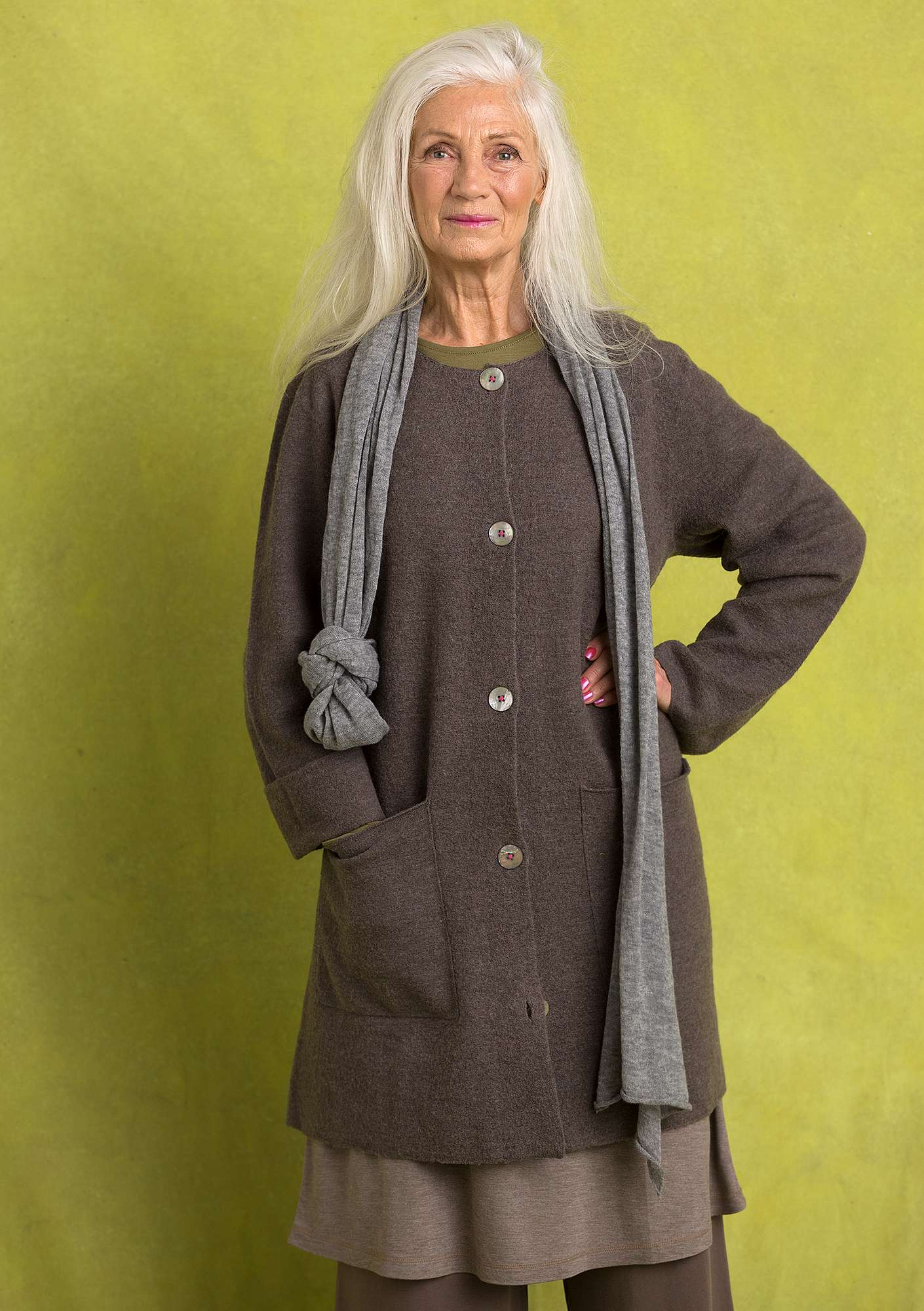 Long cardigan in felted wool nature gray