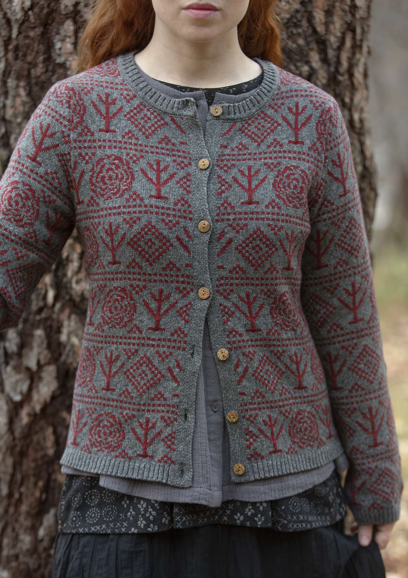 """Porslin"" cardigan in eco-cotton/eco-wool ash gray/melange"