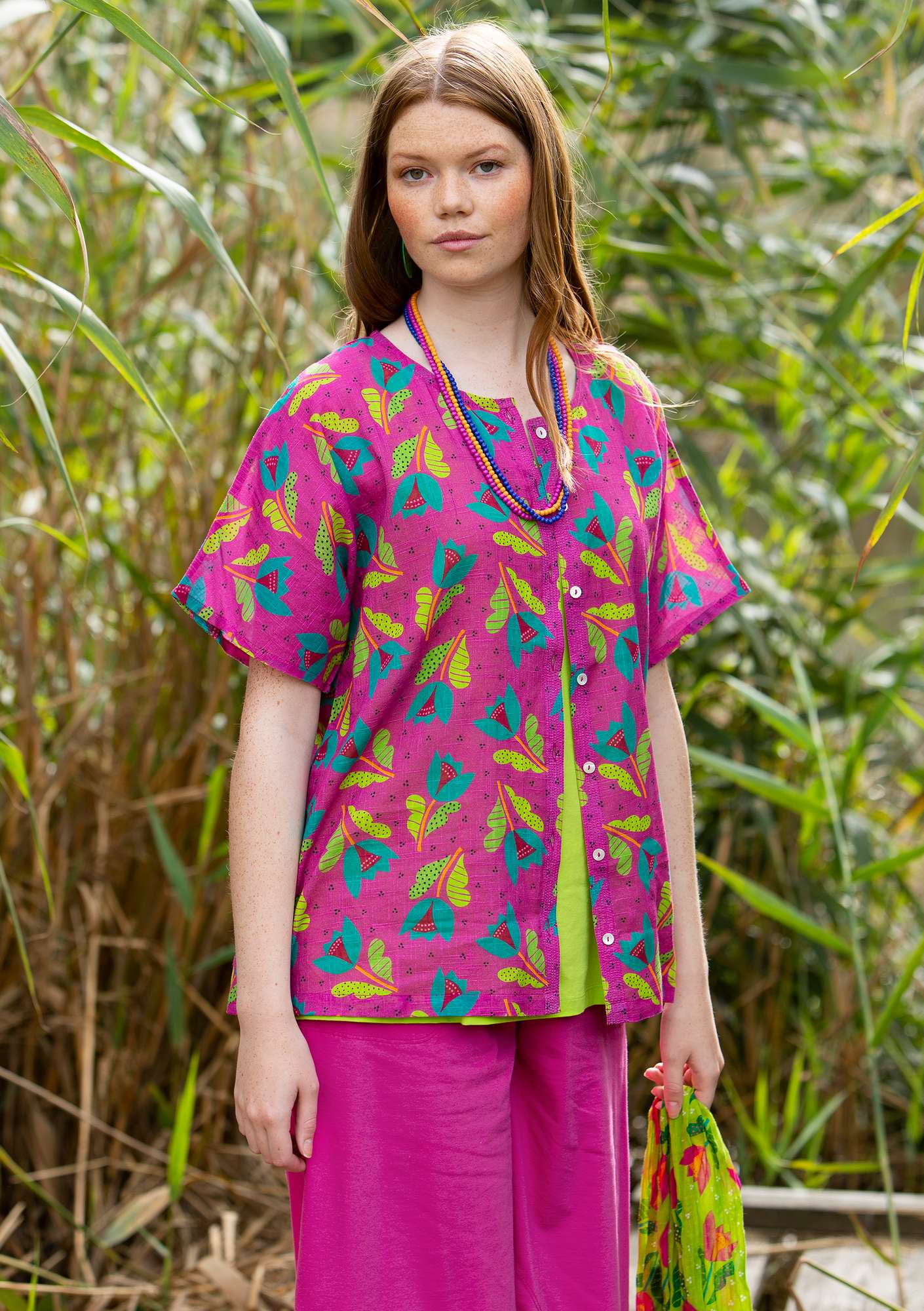 Makeba blouse cerise/patterned