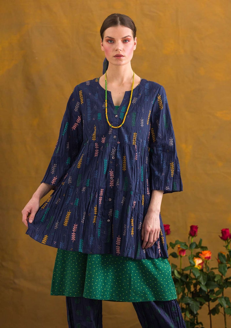 """Pimpinella"" organic cotton blouse midnight blue/patterned"