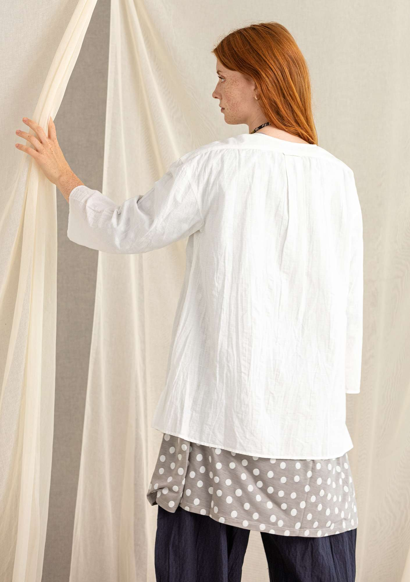 Tunic in organic cotton/linen light ecru