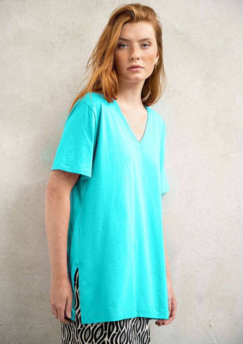 Jersey top in organic cotton turquoise