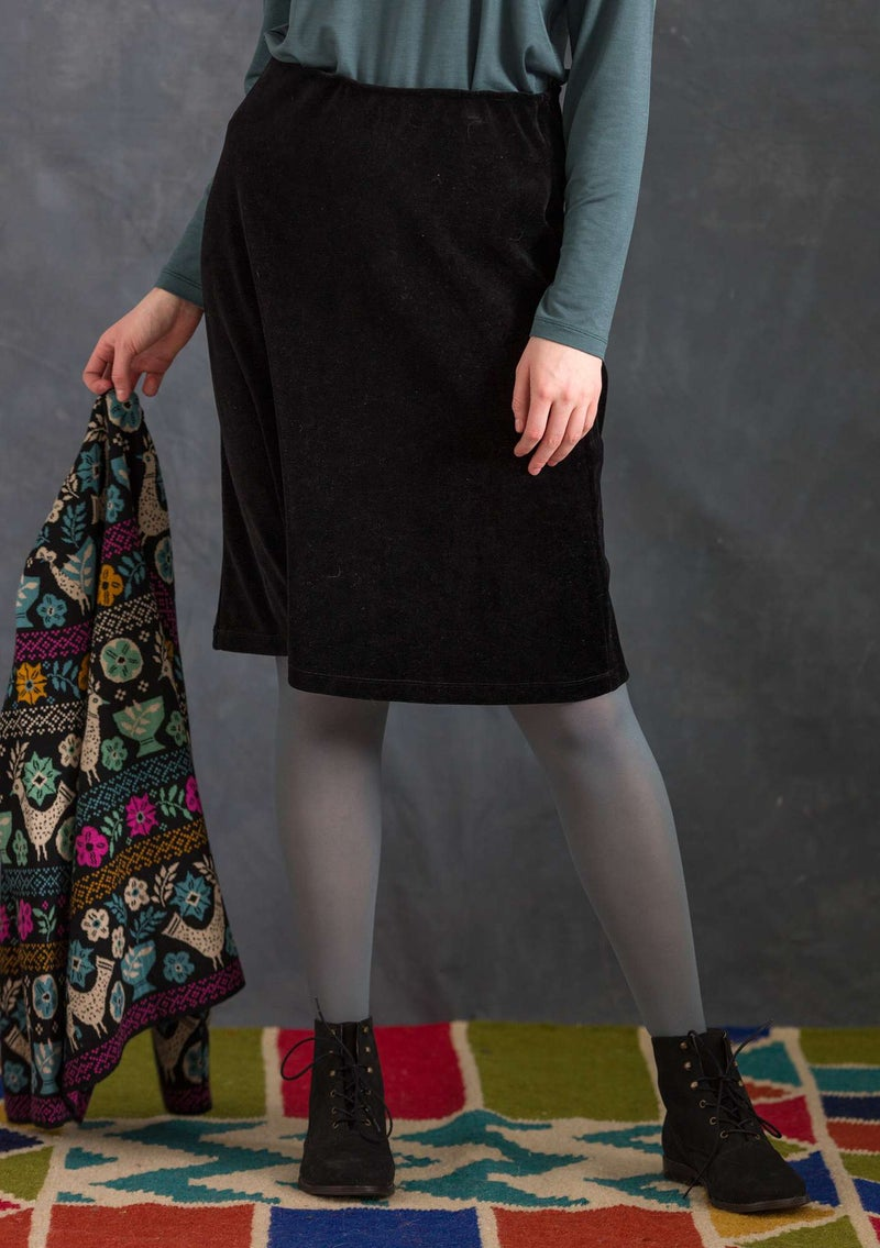 Velour skirt in organic cotton/recycled polyester black