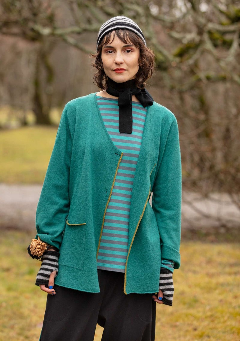 Solid-colour and striped wraparound cardigan crafted from felted wool peacock green