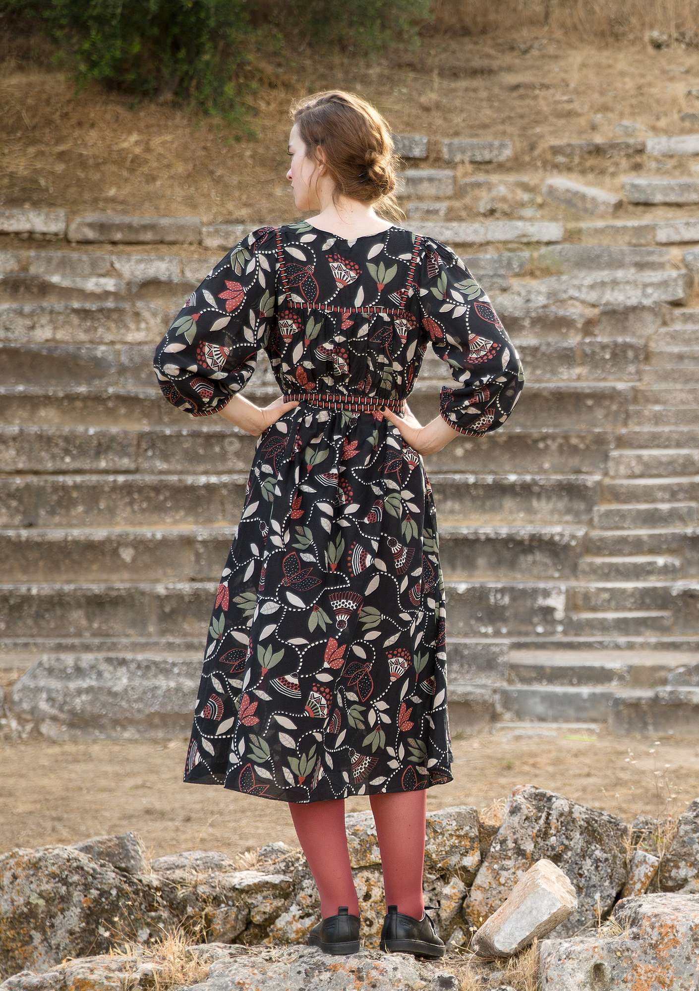 """Artemis"" dress in eco-cotton/silk black"
