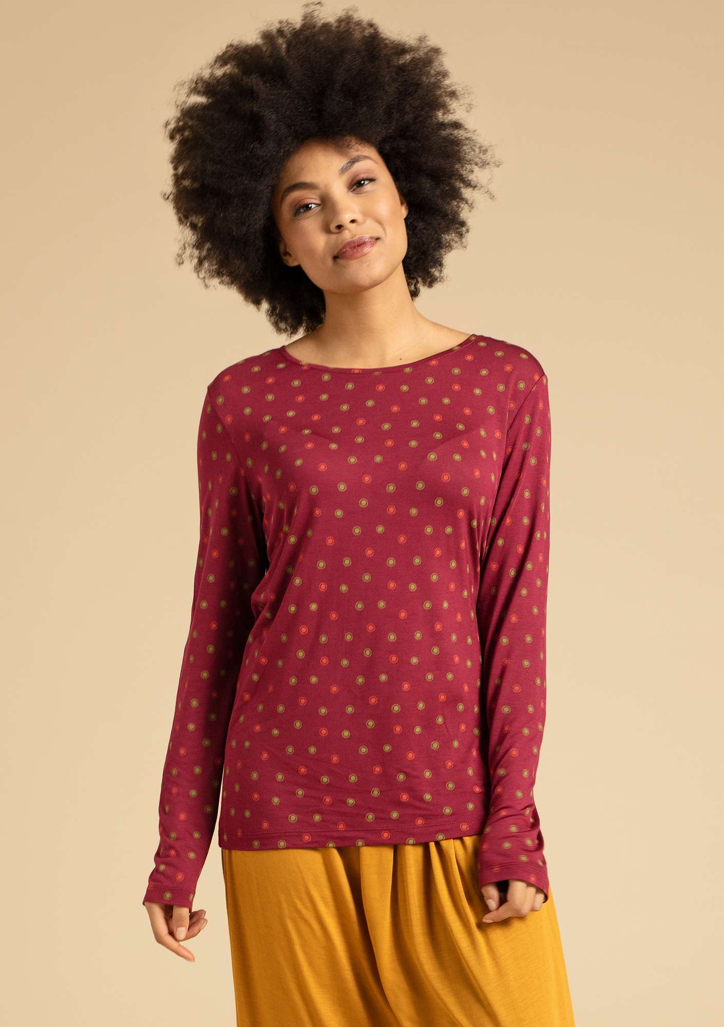 """Twinkle"" top in modal pomegranate/patterned"