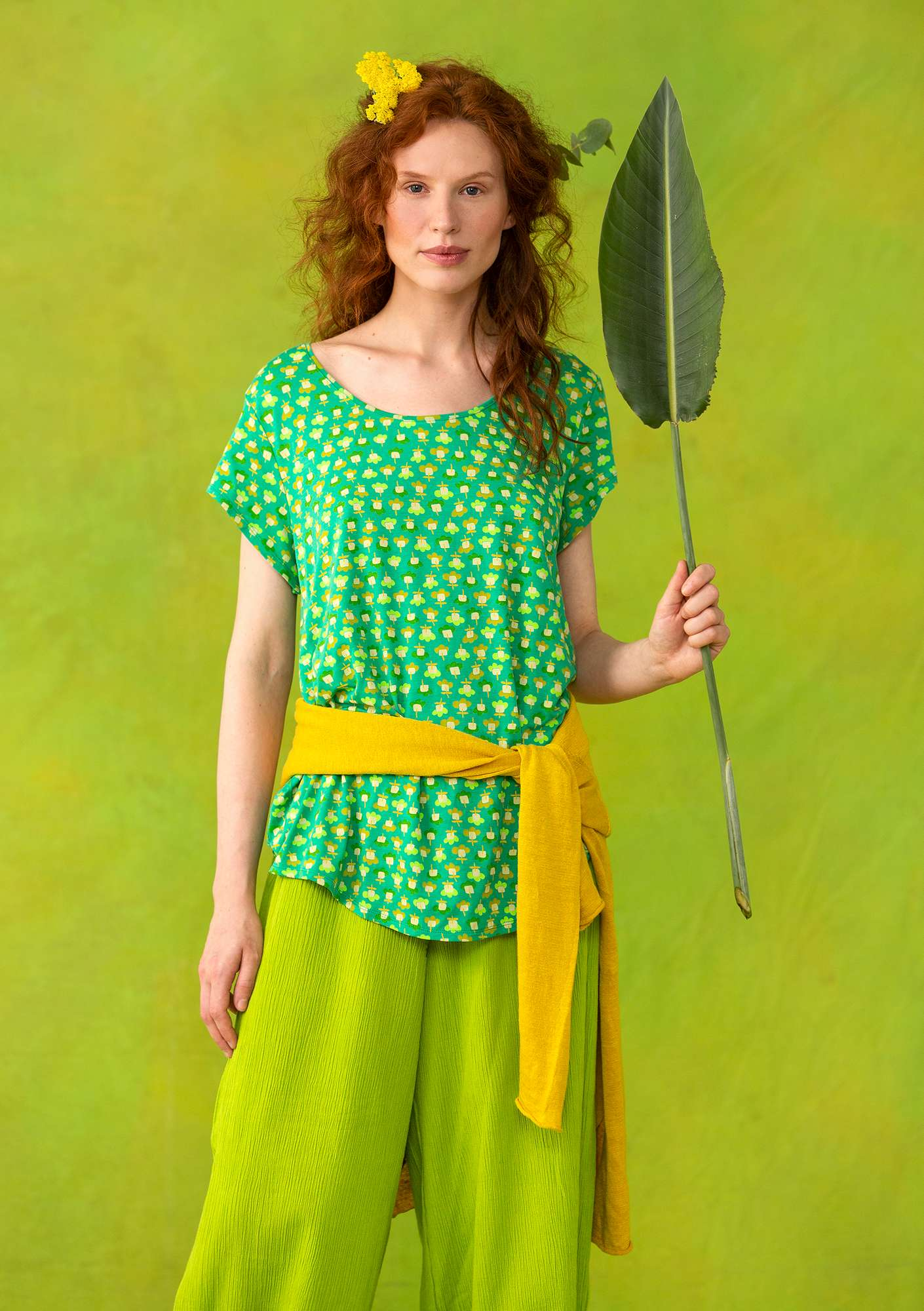 """Molly Dolly"" top in lyocell/spandex lotus green/patterned"
