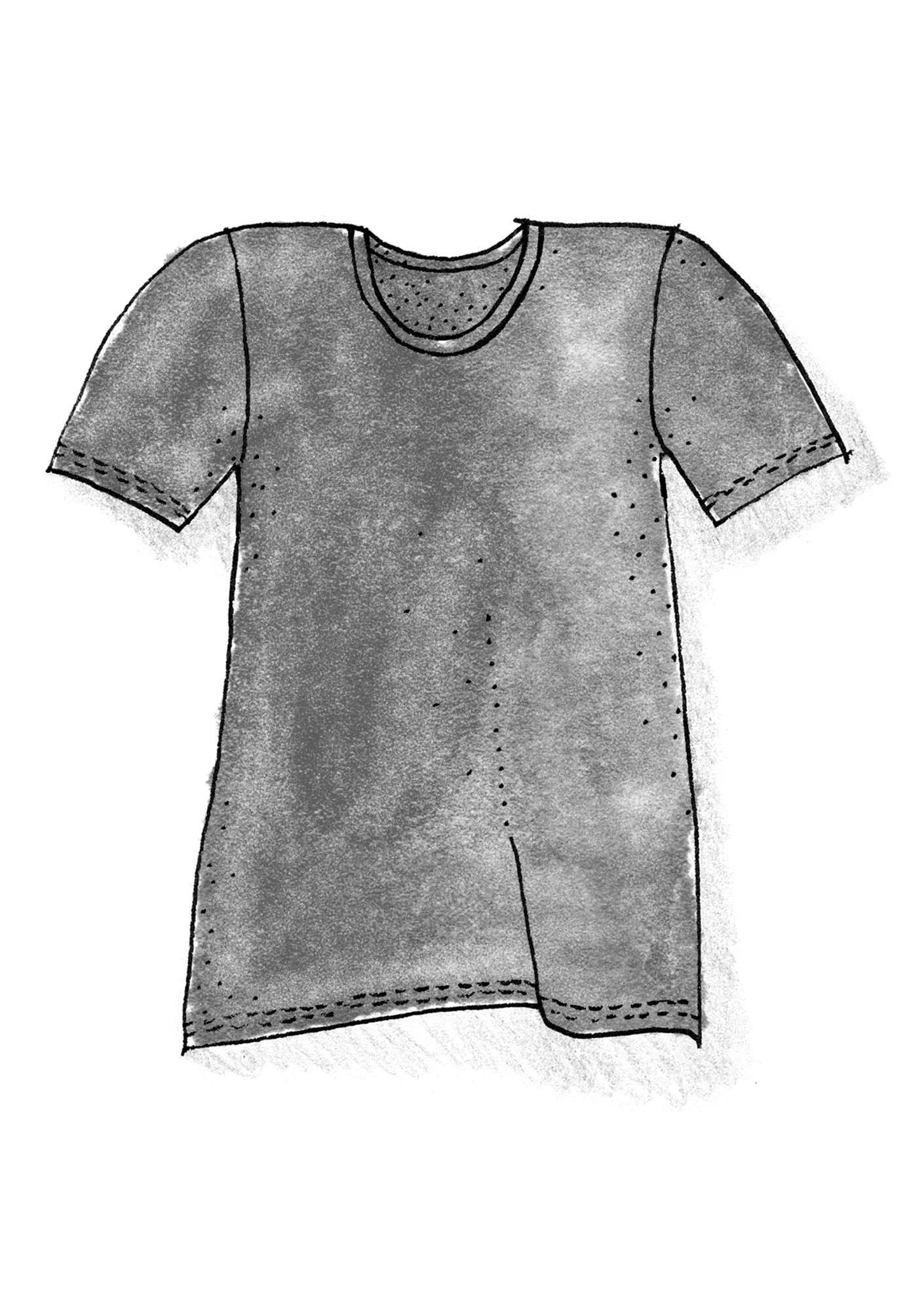 T-shirt in eco-cotton/elastane grey melange