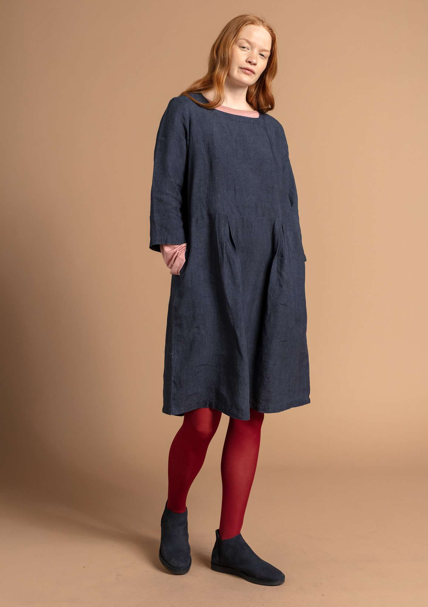 """Sia"" linen dress ink blue"