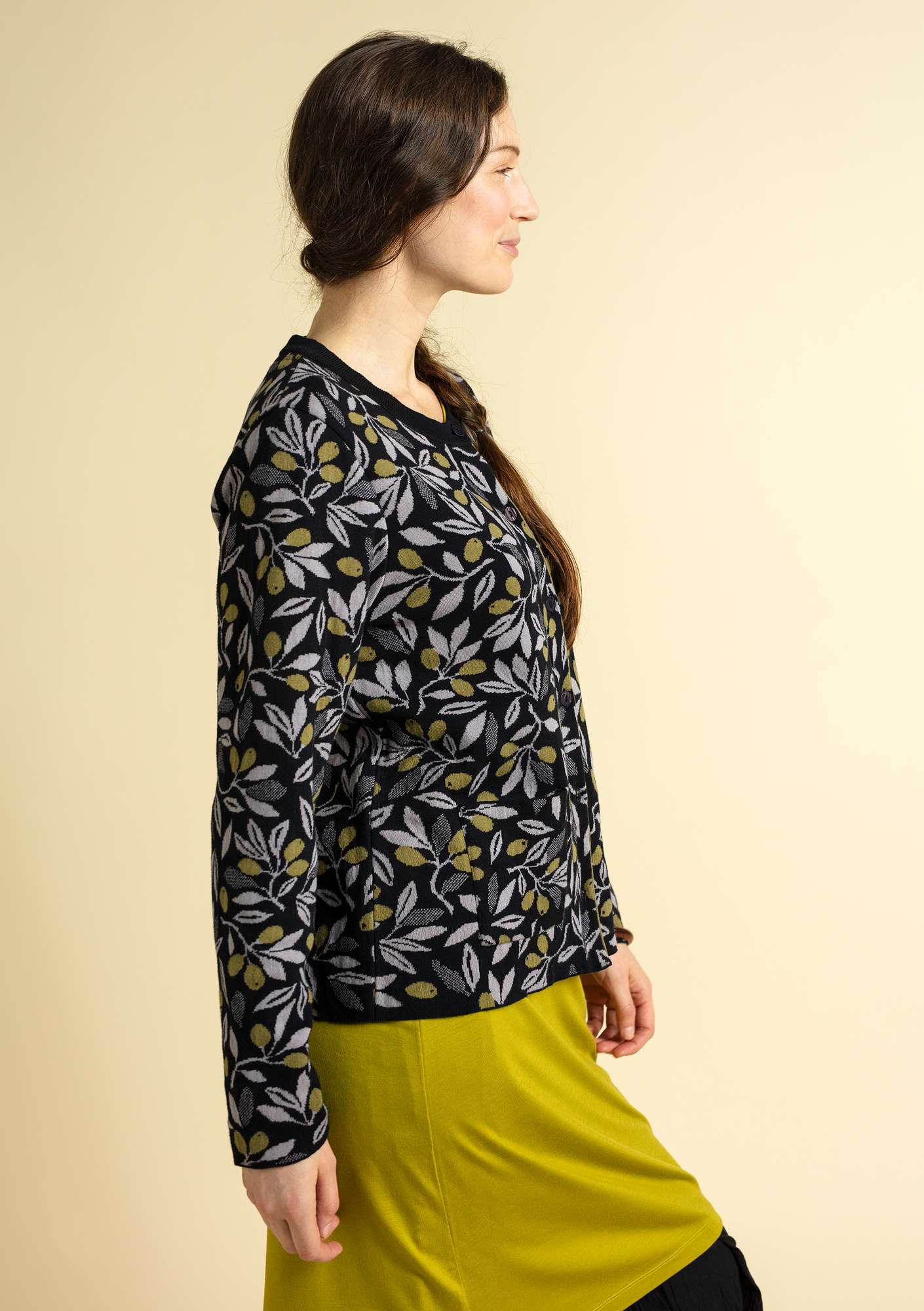 """Oliv"" cardigan in eco-cotton black"