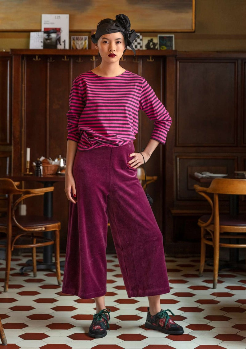 Velour pants in organic cotton/recycled polyester grape