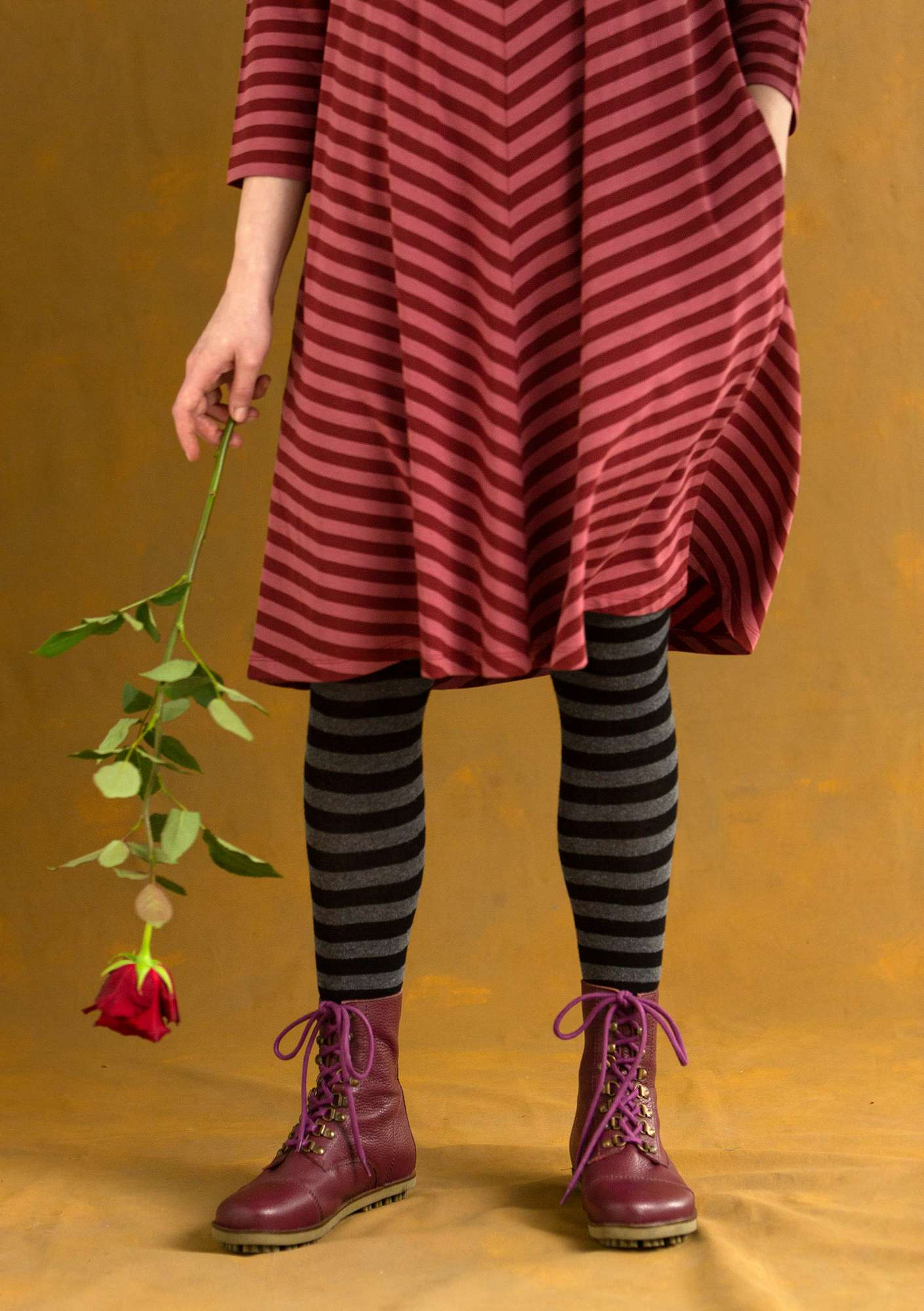 Striped tights black/ash grey